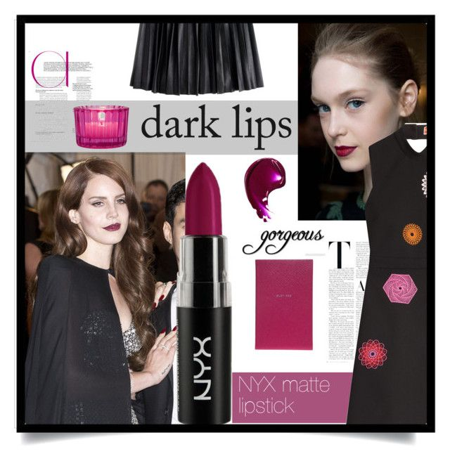 """""""Dark Cherry Lipstick"""" by juldem ❤ liked on Polyvore featuring beauty, GALA, Smythson, Cultural Intrigue, J.Crew and MSGM"""