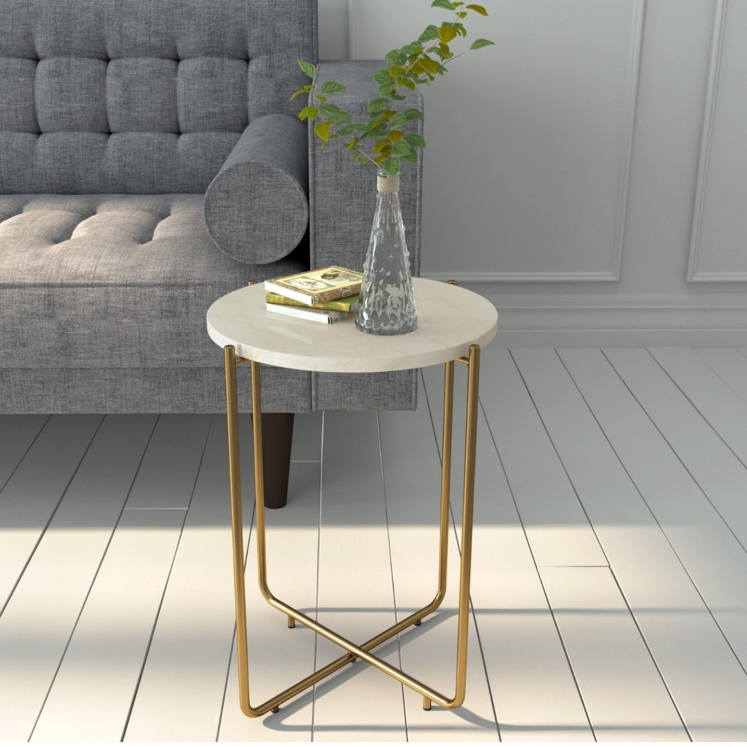 Marble Side Table In White With Gold Metal Base Martina Furniture123 In 2020 Table Furniture Round Coffee Table