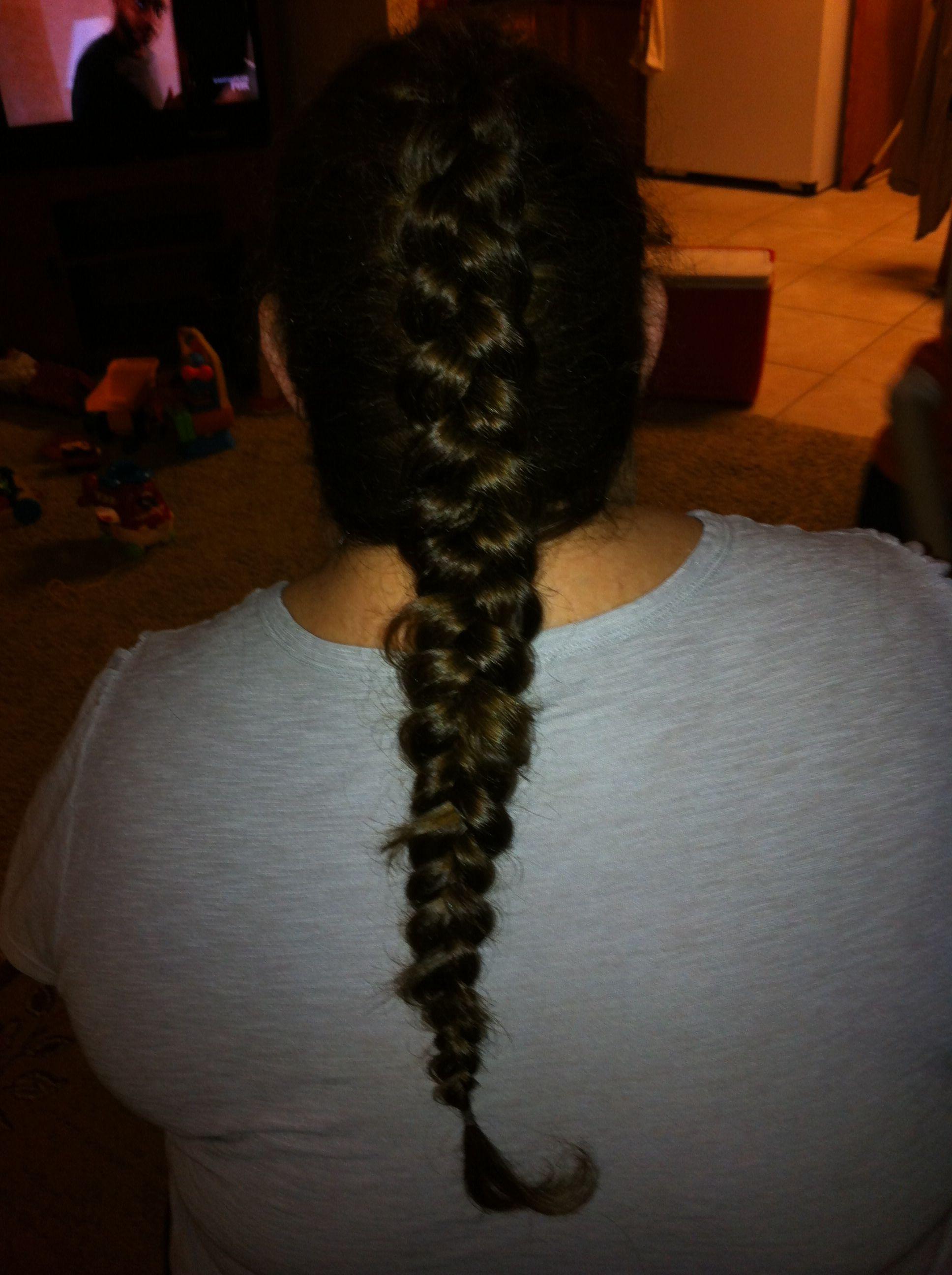 it's kindah dark! but a three strand Dutch braid.