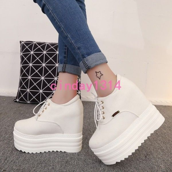 New Women's Lace Up Platform Heel Running Sports Wedge Sneakers Casual Shoes #