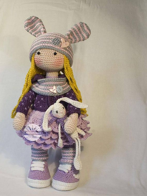 Crochet pattern for doll ALINA, pdf (Deutsch, English, Français, Nederlands, Italiano, Español) #spanishdolls