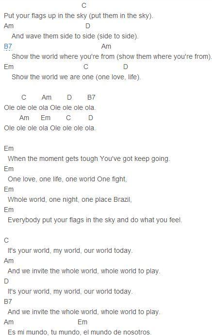 Pitbull - We Are One (Ole Ola) Chords Capo 2 | Pitbull | Pinterest ...