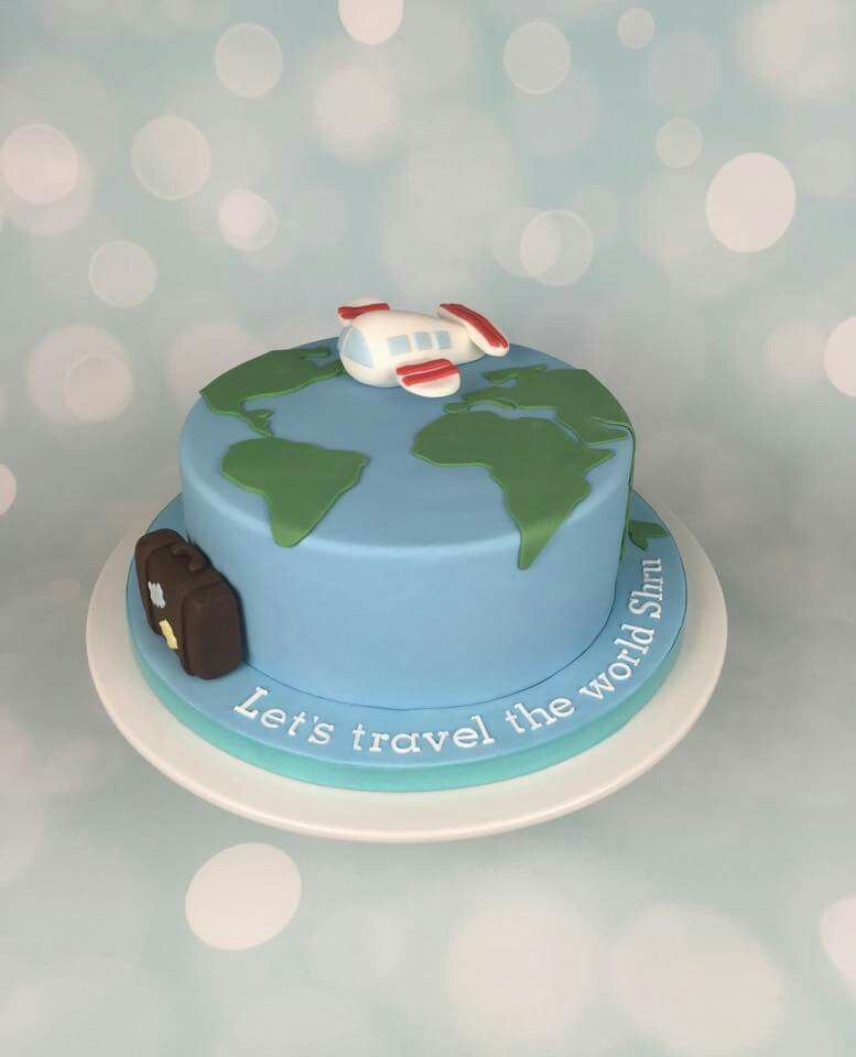 Travel birthday cake image collections birthday cake with candles lets travel the world together cake with plane map and suitcase gumiabroncs Gallery