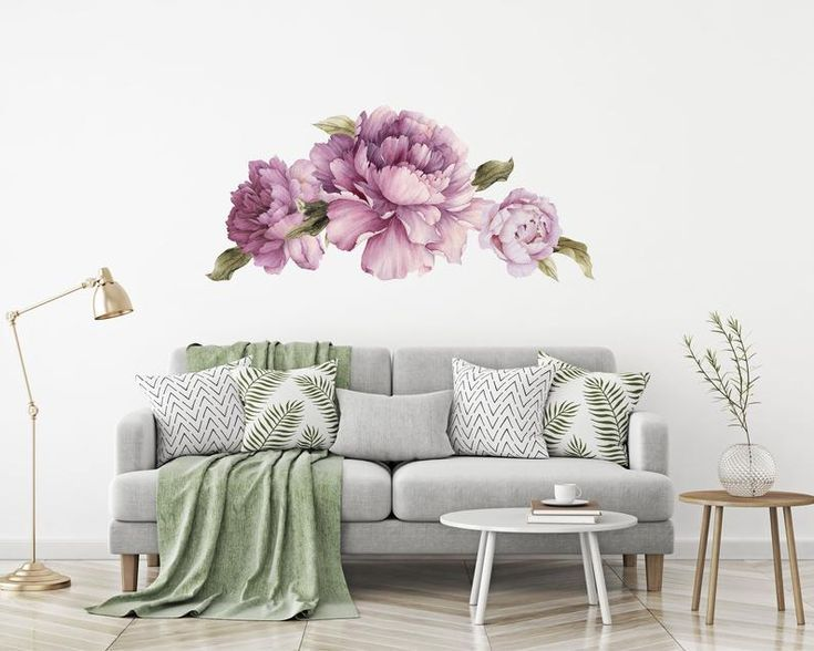 Set Of 3 Purple Peonies And Leaves Flower Wall Decals Removable