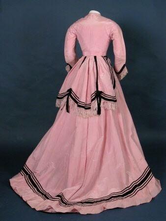 pink silk day dress black velvet ribbon trim 1860