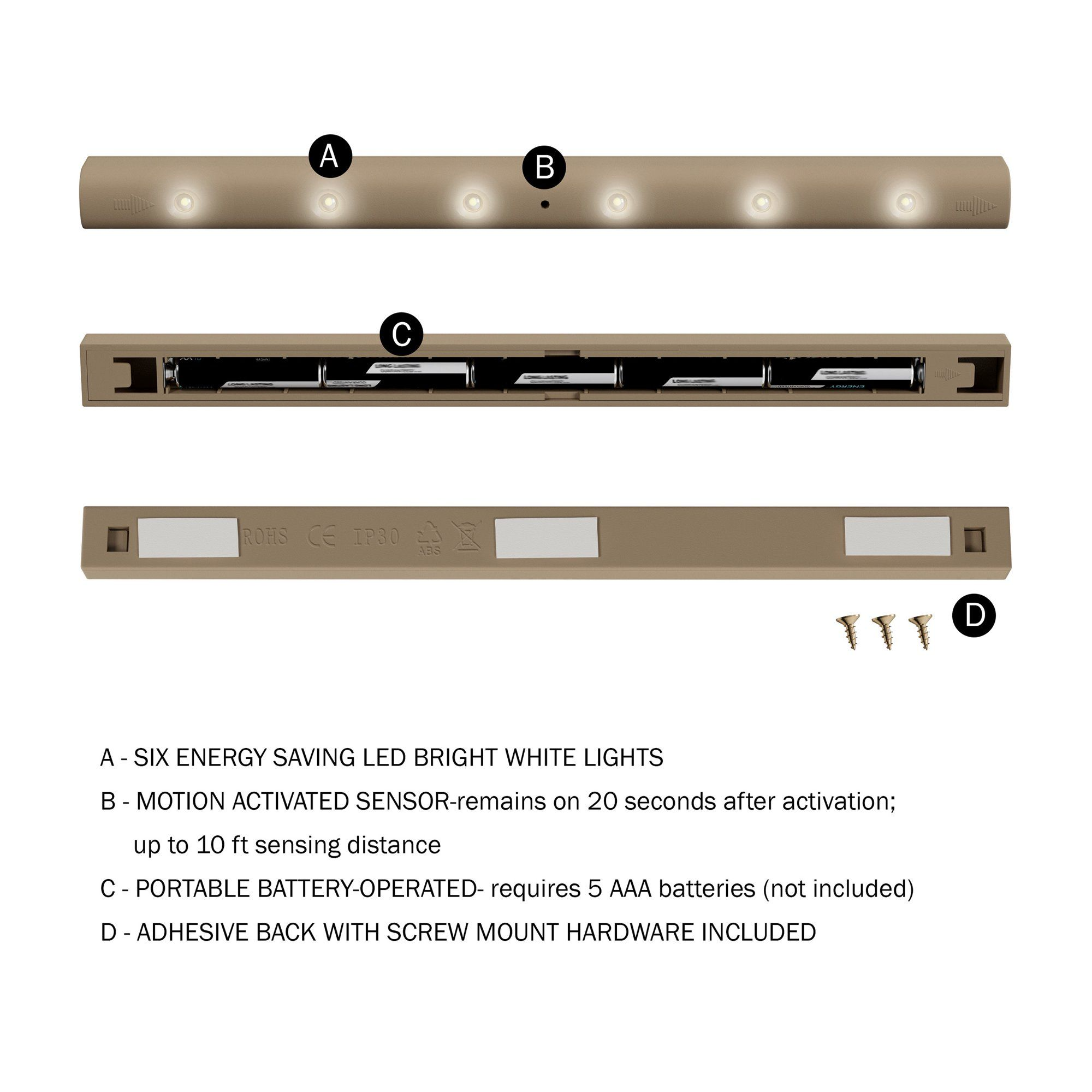 Wireless Motion Sensor Activated 6 LED Strip Light
