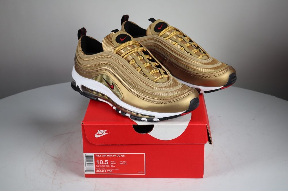 Nike Air Max 97 OG QS Gold Bullet Metallic Red size 10.5