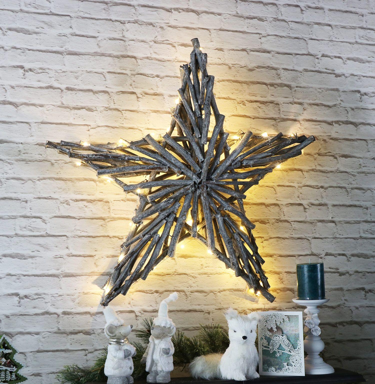 Wicker Christmas Star Wall Decoration