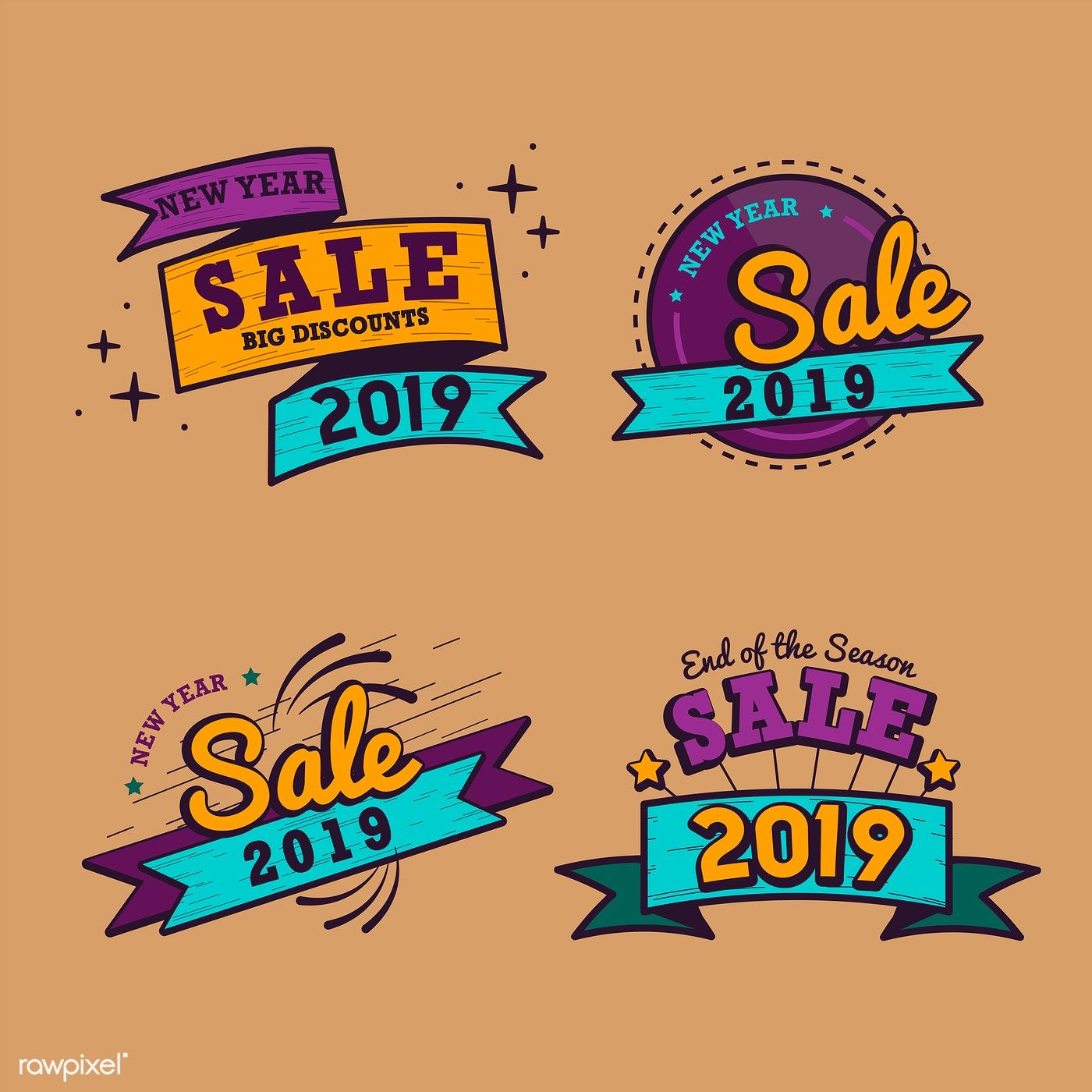 2019 new year sale badge vector set free image by