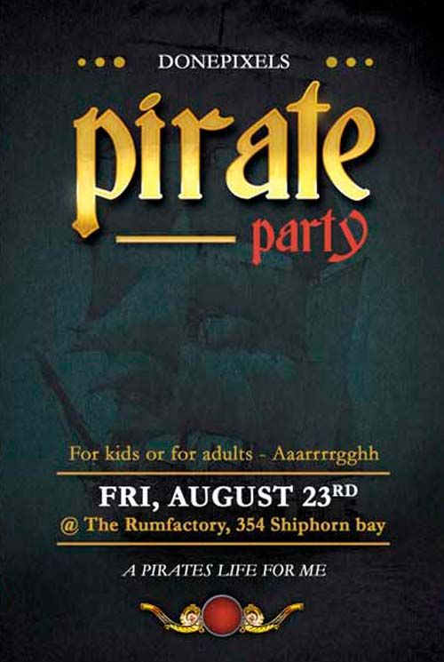 Free Pirate Party Flyer PSD Templateu2026 Haunted Pirate Fall - party flyer