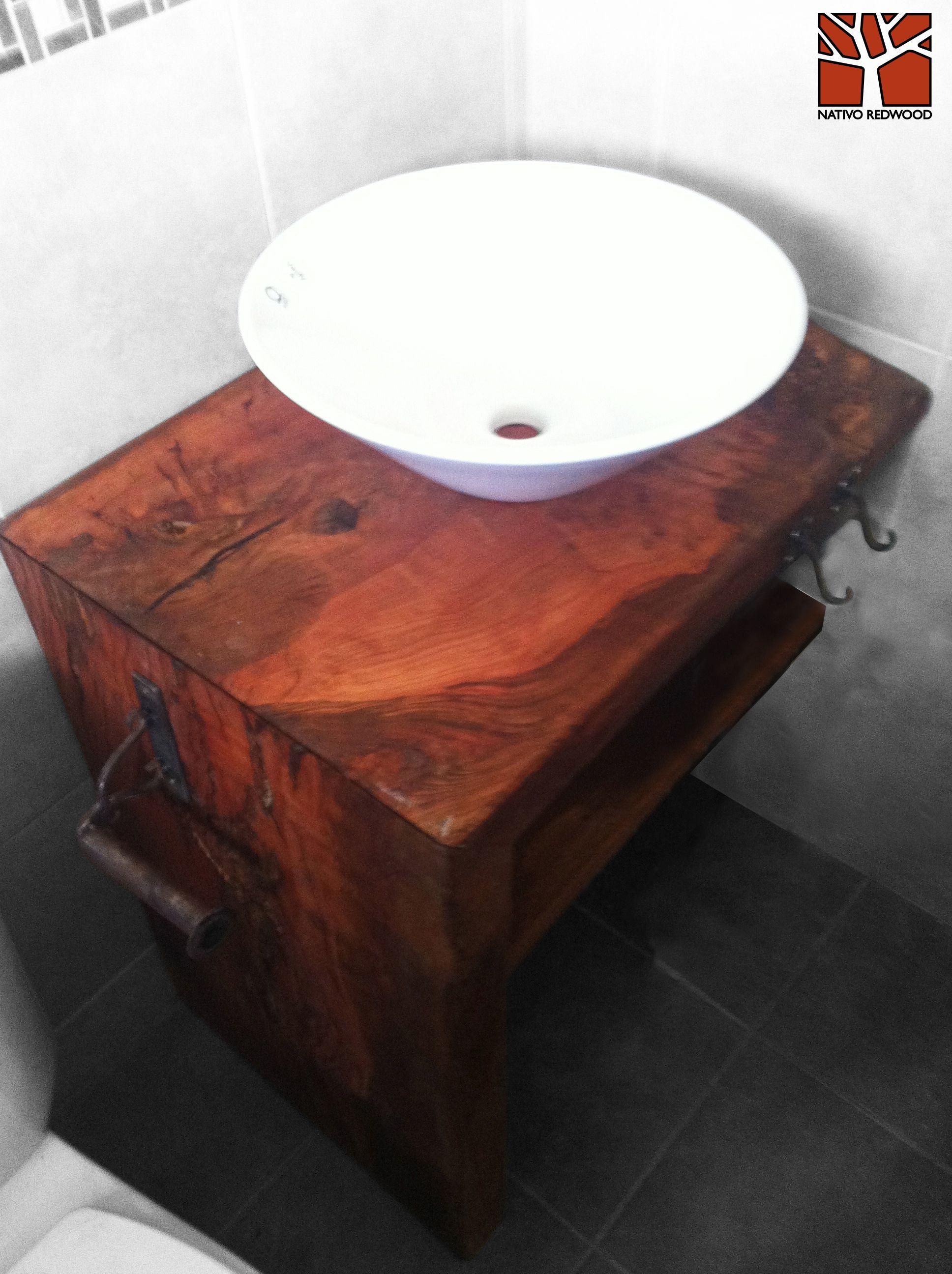 Nativo Redwood Vanitorio de madero de Roble r stico de una pieza