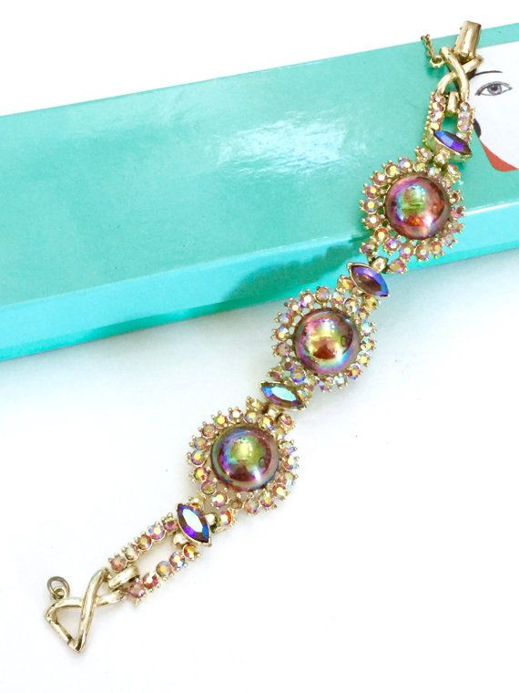 Coro Rhinestone Bracelet, Iridescent Cabochons, Golden Aurora Borealis Round and…