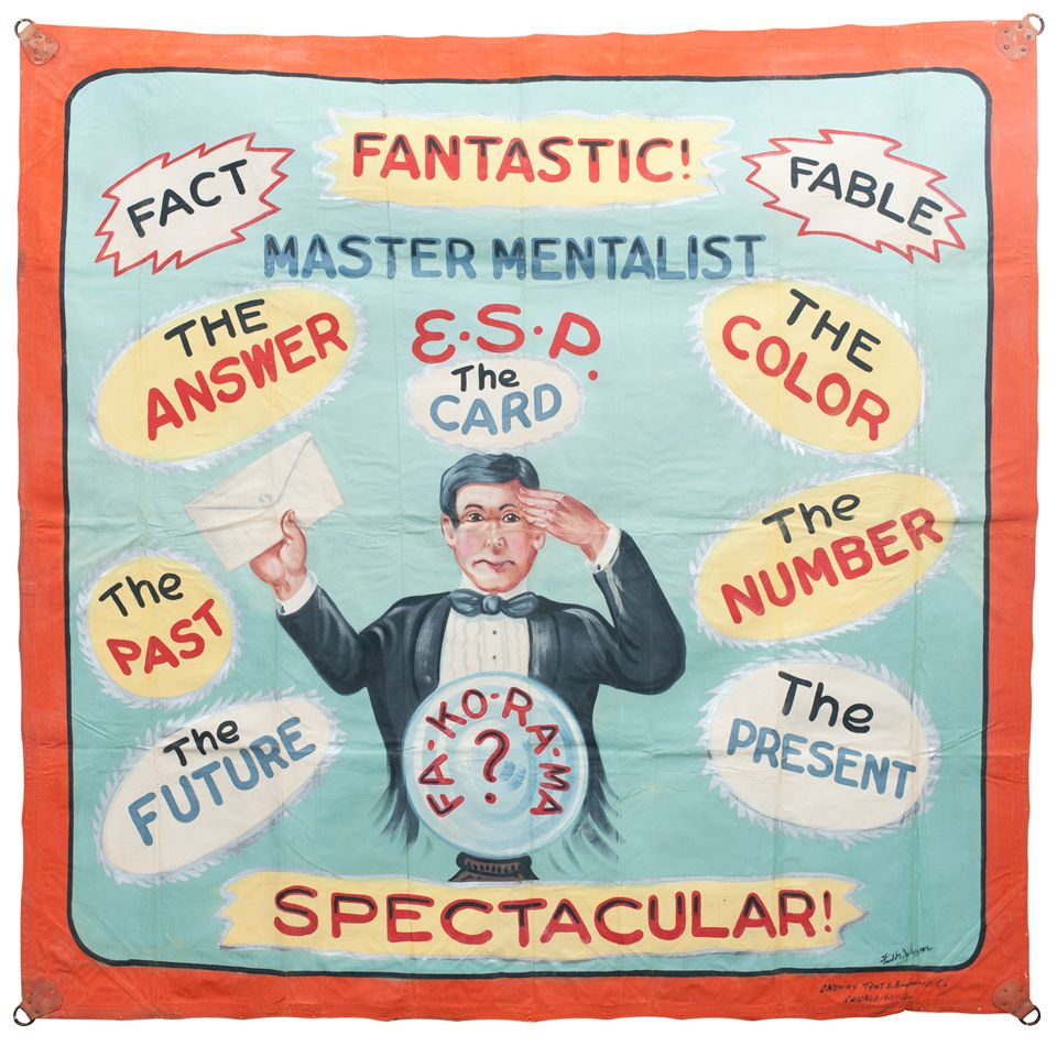 Master Mentalist Sideshow Banner by Fred G Johnson | From a unique collection of antique and modern carnival art at http://www.1stdibs.com/furniture/folk-art/carnival-art/