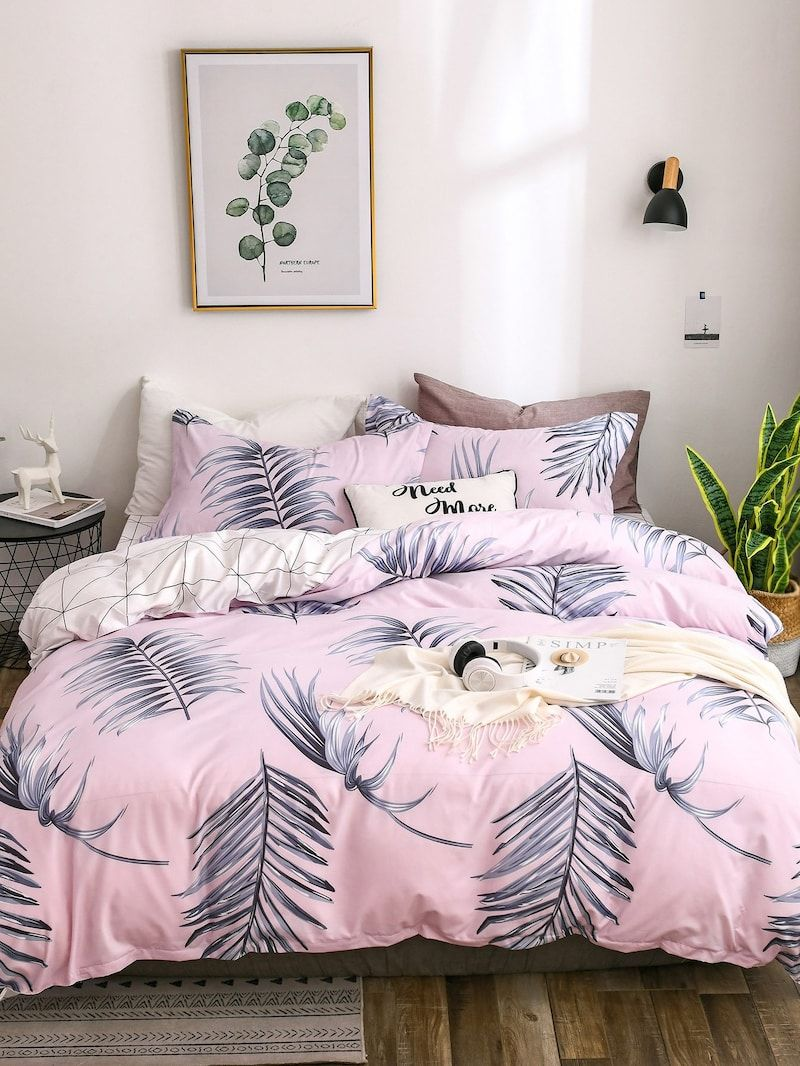 Leaf Print Sheet Setfor Women Romwe Cute Bed Sets Cute Bed Sheets Bed Cover Sets