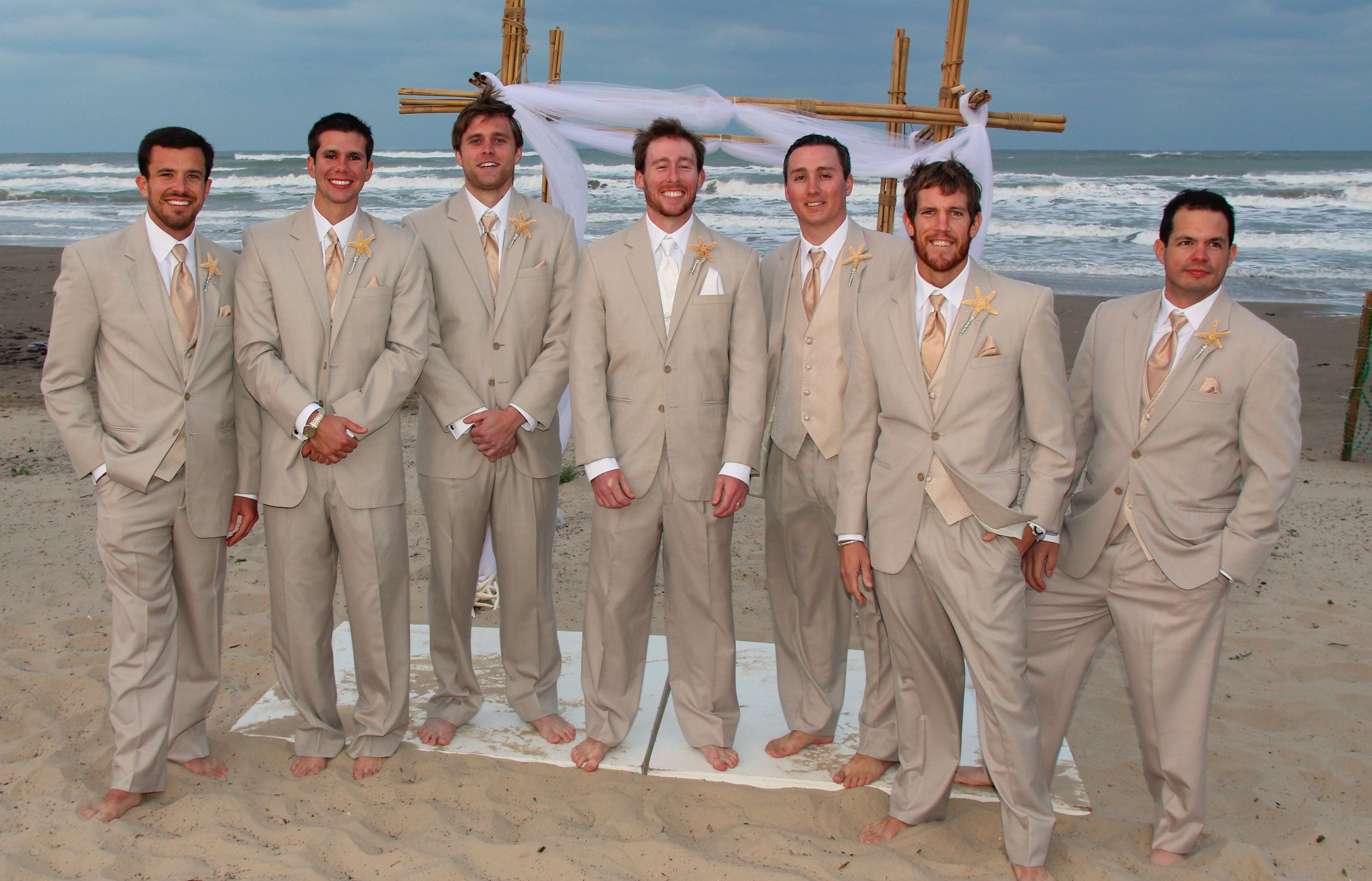 beach wedding shoes Beach Wedding Groomsmen They were wearing khaki suits from David s Bridal They also
