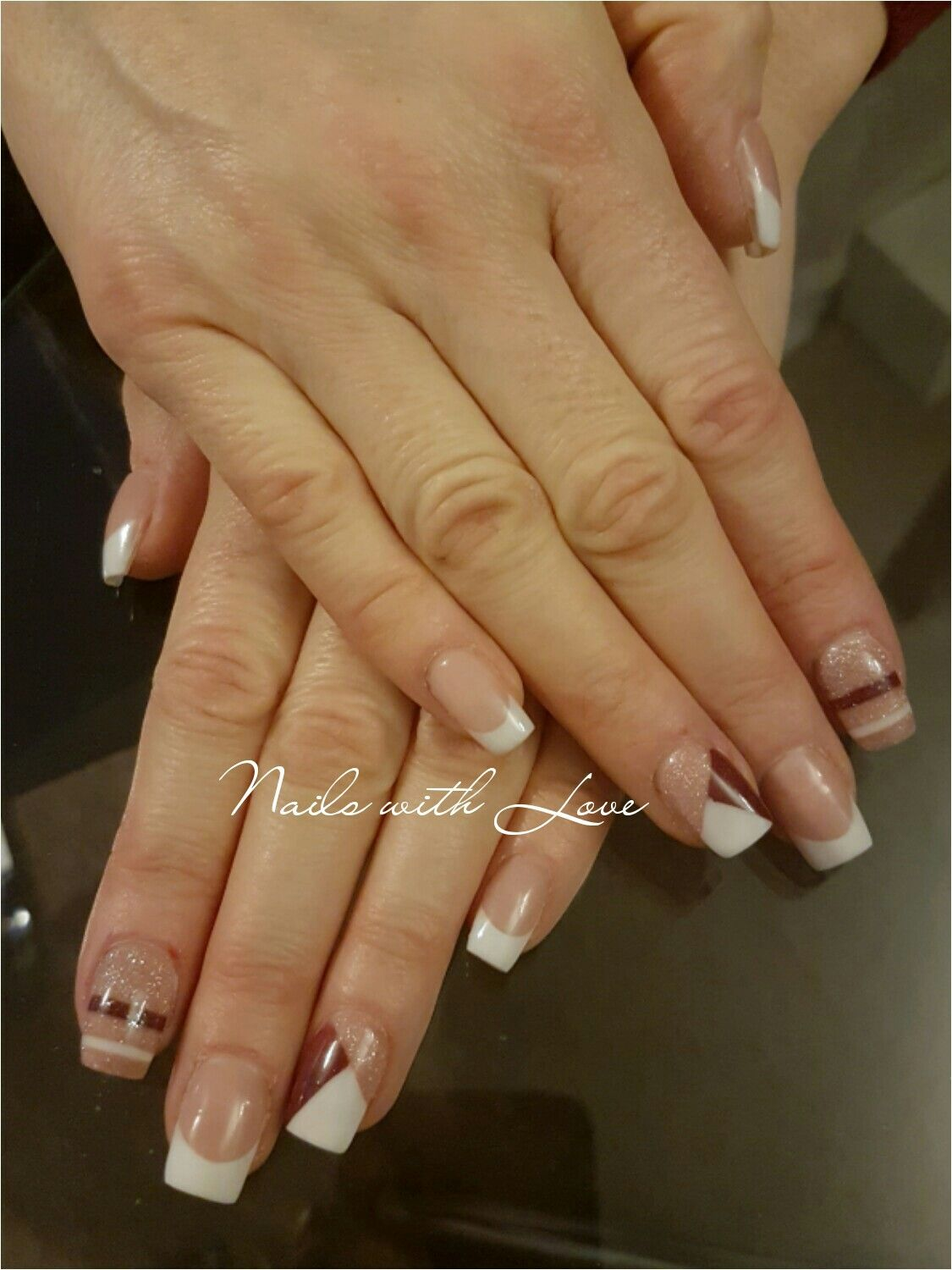 Acrylic nails. square. #frenchnails #french #maroon #white #nude ...