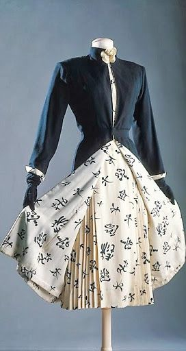 Chanel - c. 1956 - Design by Gabrielle 'Coco' Chanel - Silk, wool, leather ensemble - The Metropolitan Museum of Art