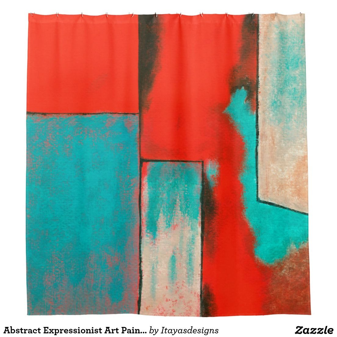red and turquoise shower curtain. Abstract Expressionist Art Painting Red Turquoise Shower Curtain 94  From Extraordinary