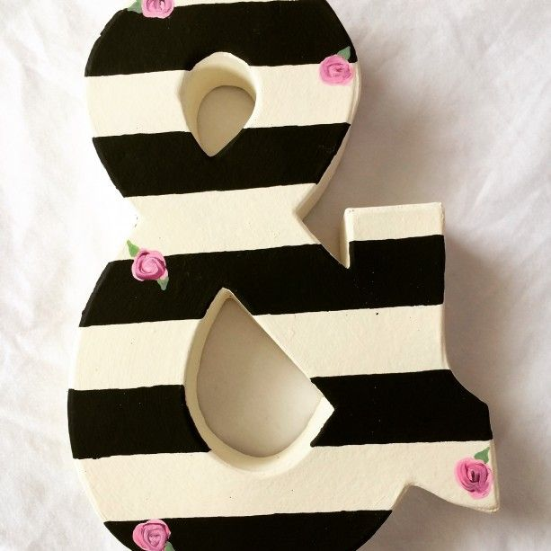 black and white striped letters with tiny pink roses, ANY letter ...