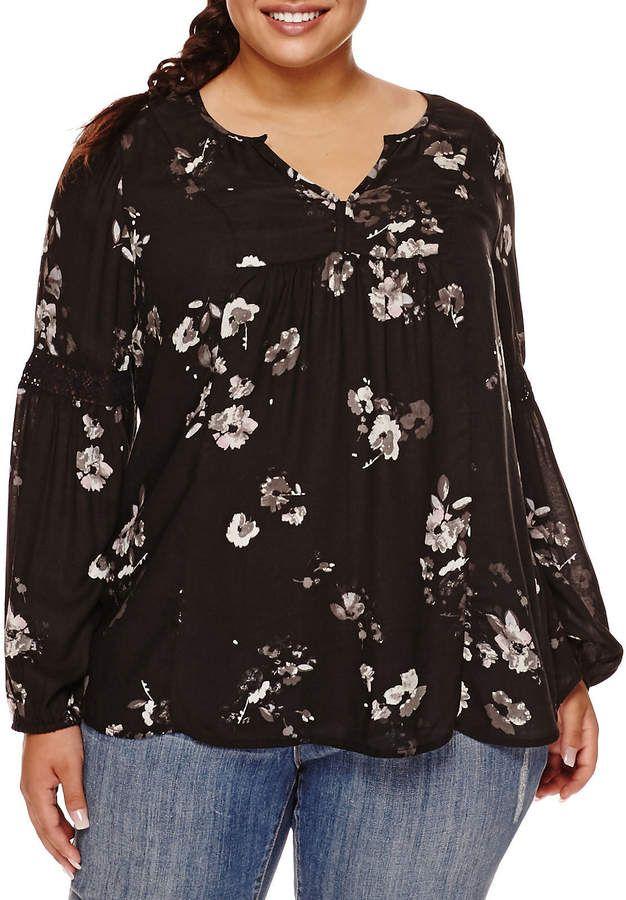 8f2441af305 Arizona Long-Sleeve Crochet Detail Print Tunic Blouse - Juniors Plus ...