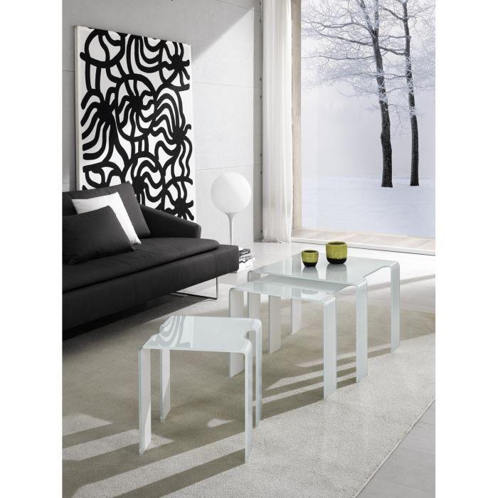table basse gigogne design trix en verre blan achat vente table basse table basse gigogne. Black Bedroom Furniture Sets. Home Design Ideas