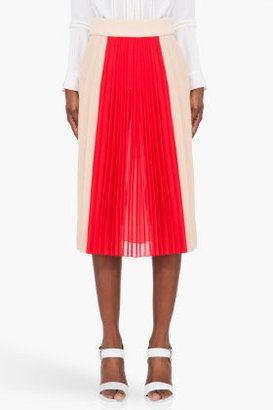 0f749ddfa8a ShopStyle  ChloéBlush   Red Pleated Silk Skirt