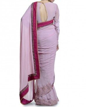 Lilac Saree with Applique Work Detail