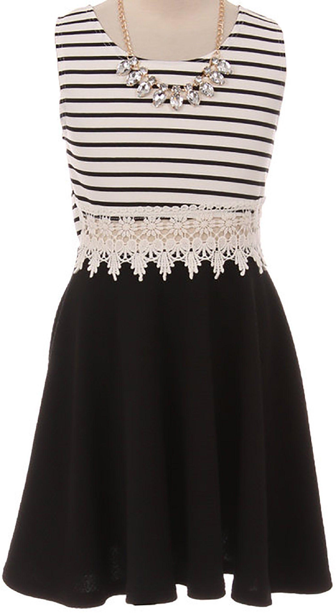 8d8a8b4559e4 Big Girls  Sleeveless Girls Dress Two Tone Stripe Bow Back Summer ...