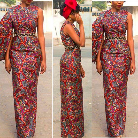 9872120935d2 Robe longue crayon Print africaine, robe africaine, ankara, robe de mariage  africain, vêtements africains, boutique africaine, manches sans manches, ...