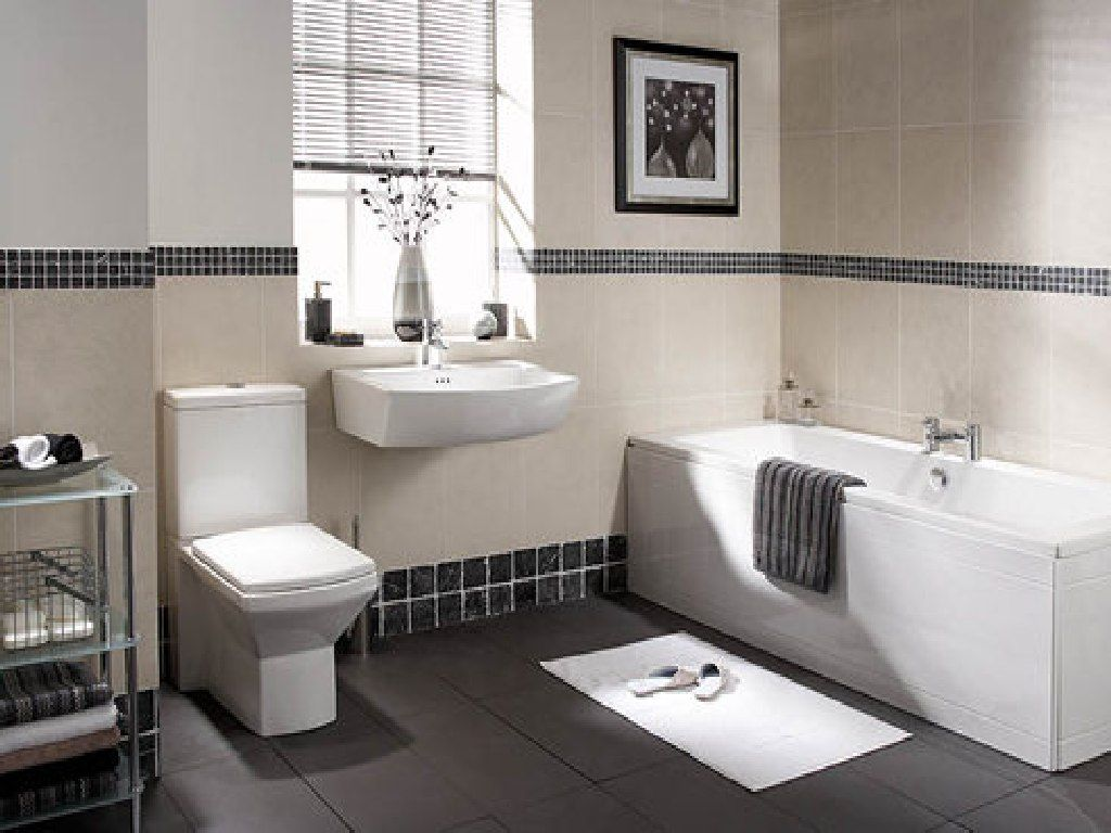Picture Gallery For Website Wonderful Black And White Bathroom Design With Excellent Dark Grey Floor Tile For Dashing White Appliances