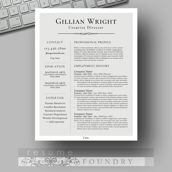 Parisian Grey, Elegant Resume Template by Resume Foundry Job stuff