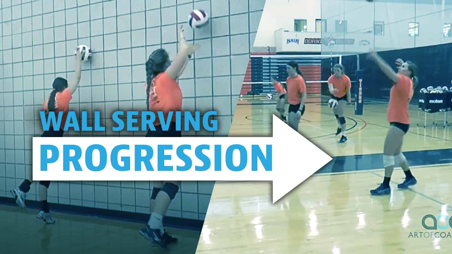 Wall Serving Progression The Art Of Coaching Volleyball Volleyball Serving Drills Volleyball Workouts Volleyball Training