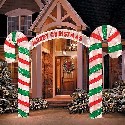 Large Candy Cane Decorations Outdoors Saleoutdoorlighted10Ftmerrychristmassigncandycanearchway