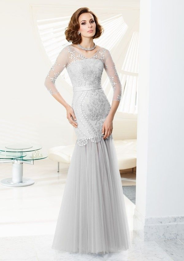 Long V-Neck Cap Sleeve Formal Gown | Mother of the bride