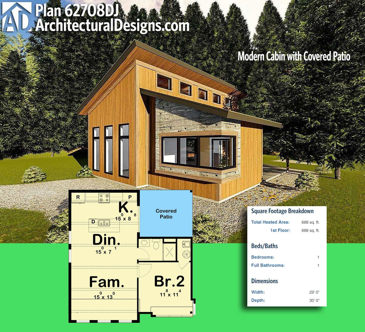 Plan 62708dj Modern Cabin With Covered Patio Tiny