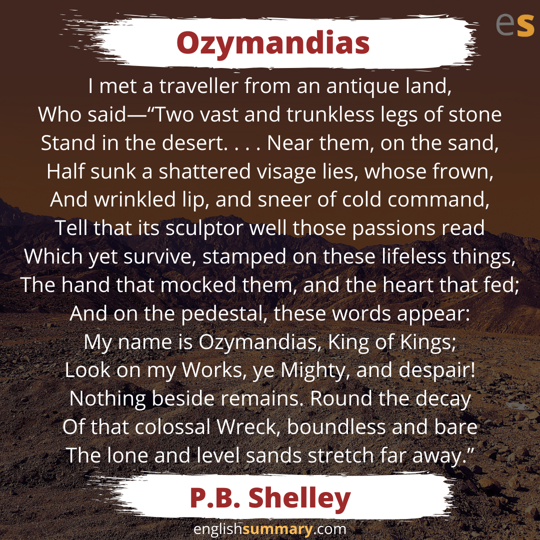 Ozymandia Poem By Percy Bysshe Shelley Word Quote Summary Of The