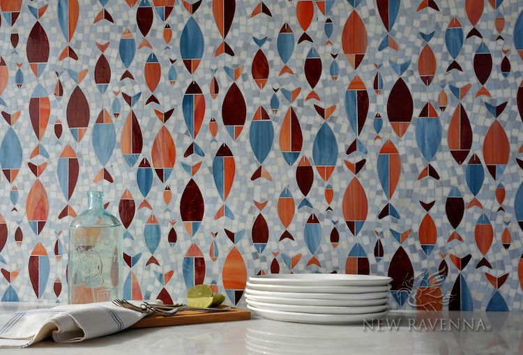 Floating Fish, a hand cut and waterjet glass mosaic shown in Mica, Sardonyx, Garnet, Pearl, and Quartz, is part of the Erin Adams Collection for New Ravenna Mosaics.<br /> Take the next step: prices, samples and design help, http://www.newravenna.com/showrooms/