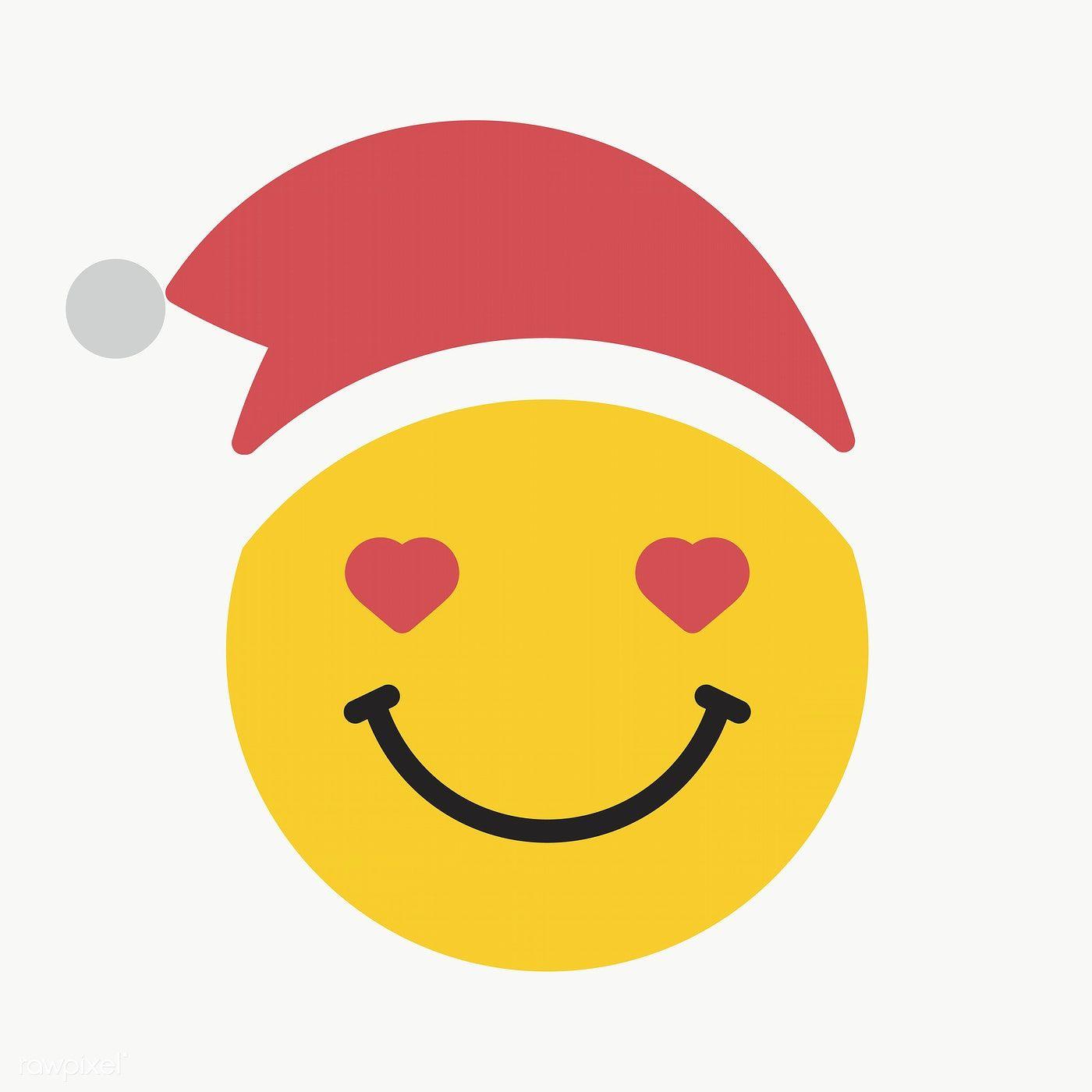 Round Yellow Santa In Love Emoticon On Transparent Background Vector Premium Image By Rawpixel Com Wan Emoticon Digital Illustration Design Elements