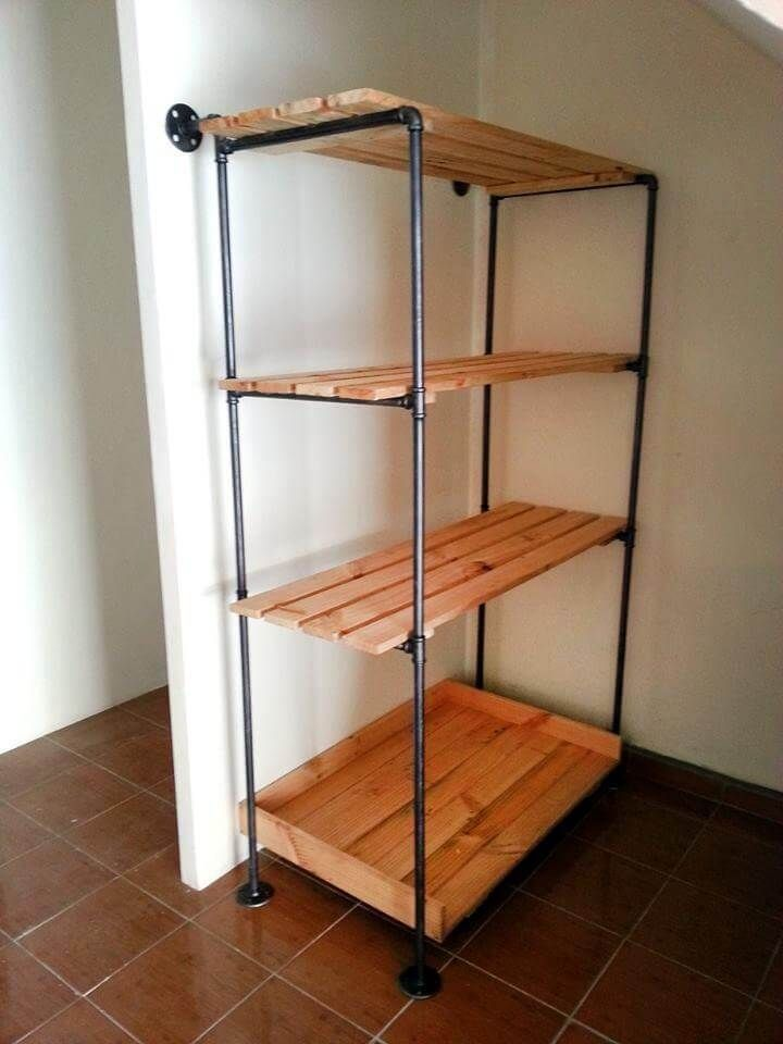 wall mount shelving features a pair of natural iron bars in a rh pinterest com