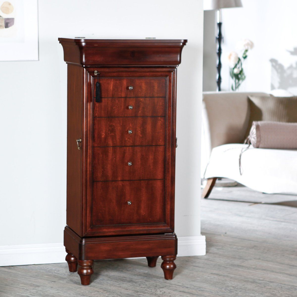 seville antique walnut locking jewelry armoire just plain want rh pinterest com