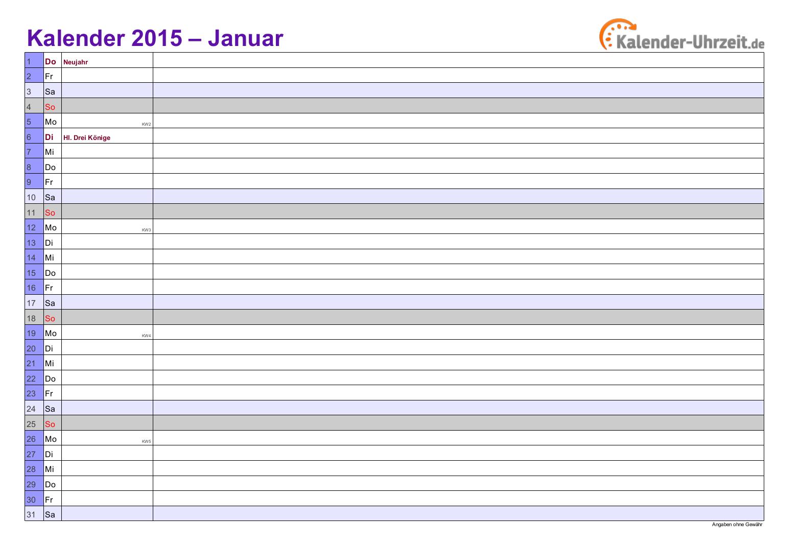 kalender 2015 in violett  a4 querformat 12seitiger