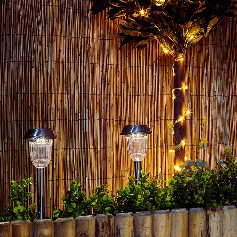Hochwertig Antik Duracell Solar LED Outdoor Stake Lights Brushed Nickel Set Of 4  Solarleuchten .