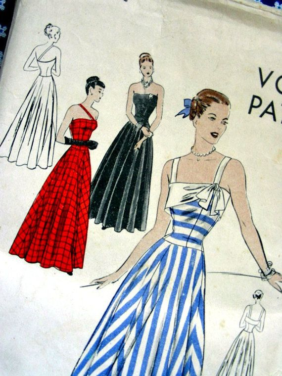 714daa6672 Vintage 40 s VOGUE Dress Pattern 5811 - GORGEOUS Strapless Evening ...