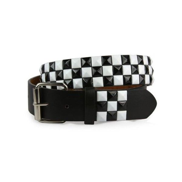 Snap On Punk Rock Black White Star Studded Checker Board Pattern... ($9.83) ❤ liked on Polyvore featuring accessories, belts, punk belt, studded belt, black and white belt, star studded belt and punk studded belt