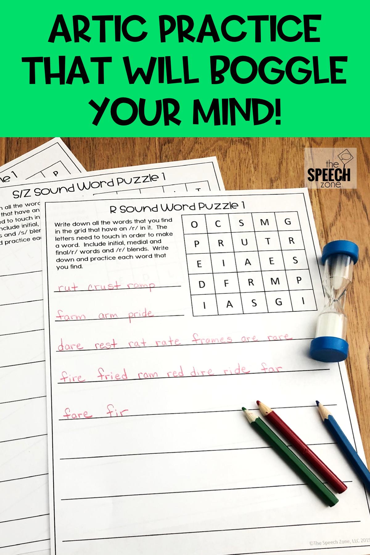 Articulation Speech Word Puzzles