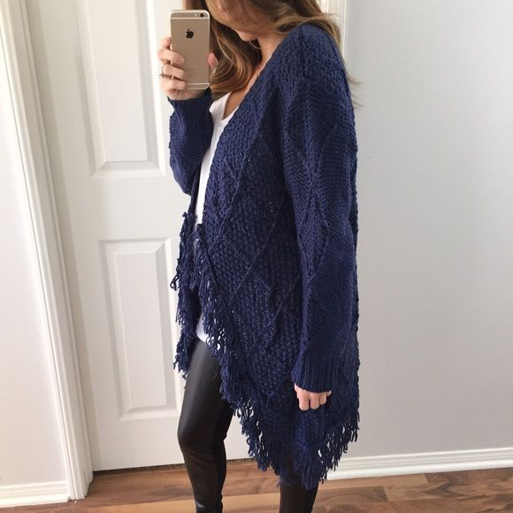 e37d9cb5317 Navy Diamond Knit Sweater Cardigan Such a cute cute sweater! Very eye  catching yet simple. It has an open front