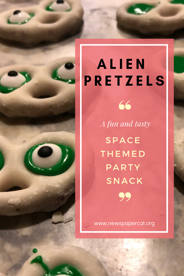 The Easiest Space Alien Party Food Idea Ever: Alien Pretzels #outerspaceparty
