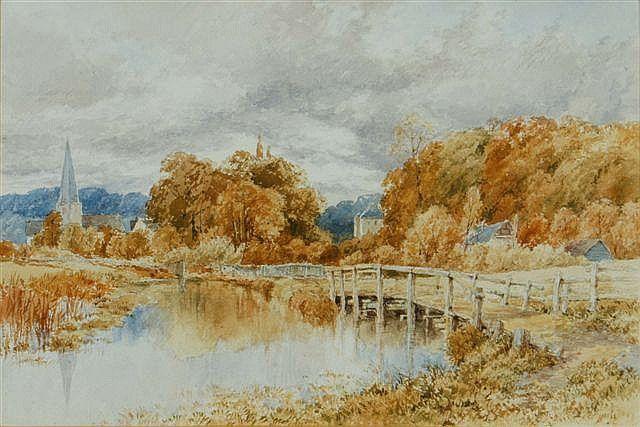 Магия акварели.Старые мастера. - ч.1. - Журнал обо всём   THOMAS JAMES SOPER (1836-1890) River landscape with bridge, watercolour