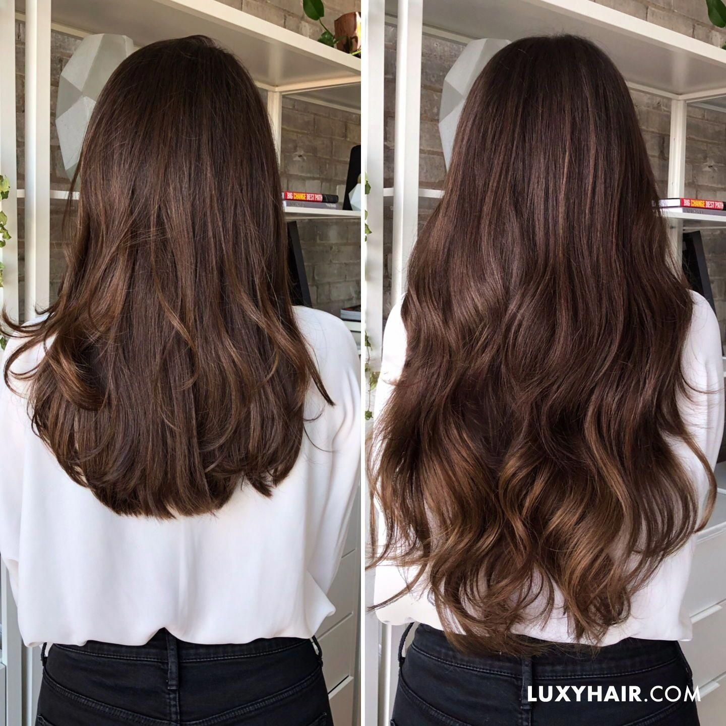 Luxy Hair Extensions In The Shade Chocolate Brown Brownhairbalayage In 2020 Brown Hair Shades Brown Hair Colors Brown Hair With Highlights