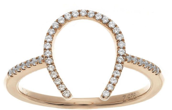Fine Jewelry 1/7 CT. T.W. Diamond 14K Rose Gold Over Sterling Silver Open-Design Ring GVLMcYiZ